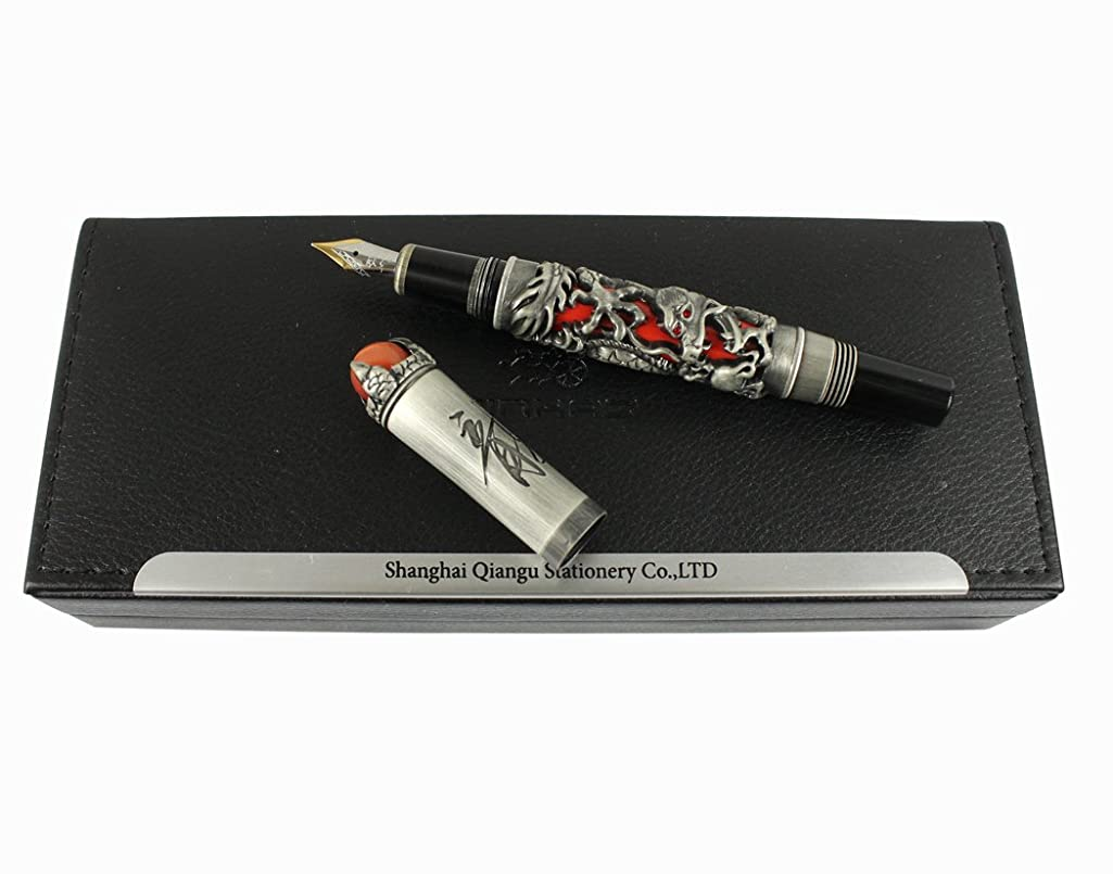 Jinhao Luxury Ancient Chinese Ming Dynasty Emperor Style Dragon Play Red Jade Pearl Fountain Pen with Gift Box, Black & Red
