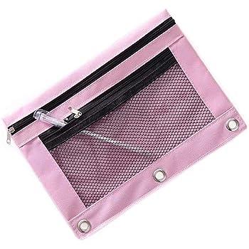 Funny live B5 Size Double Zipper 2 Pocket Pencil Bag, Transparent Mesh File Pouch Case, Zip Binder Pencil Bags Pencil Cases with Rivet Enforced Hole 3 Ring (Pink)