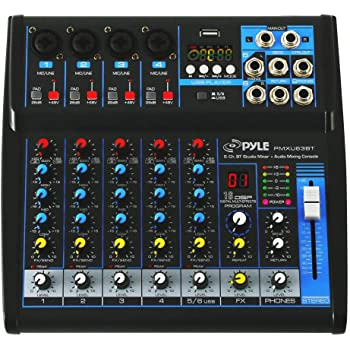 Pyle Professional Audio Mixer Sound Board Console - Desk System Interface with 6 Channel, USB, Bluetooth, Digital MP3 Computer Input, 48V Phantom Power, Stereo DJ Streaming & FX16 Bit DSP- PMXU63BT