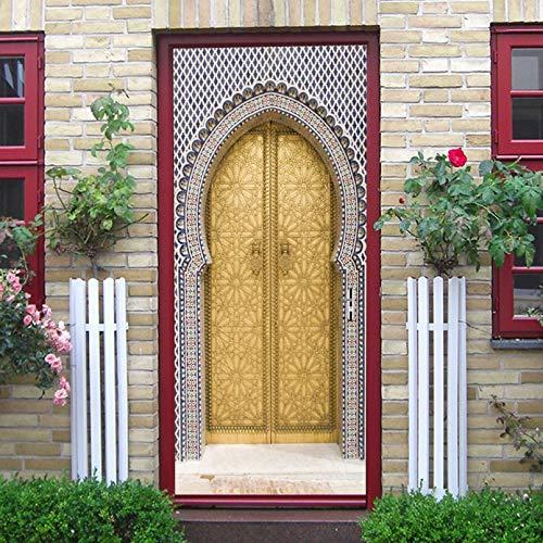 3D-deurstickersHome Decor Arabische Stijl Gouden Deur Muurschildering Muurstickers Behang Decals Woondecoratie Voor…