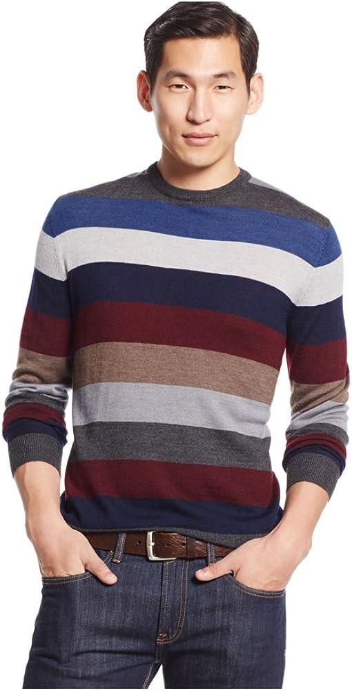 Club Room Men's Merino Wool Multi-Striped Crew-Neck Sweater