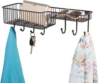 mDesign Metal Wire Wall Mount Entryway Storage Organizer Mail Basket Holder with 7 Hooks, 2 Compartments - for Organizing Letters, Magazines, Keys, Coats, Leashes - Bronze