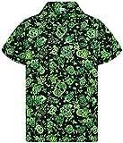V.H.O. Funky Camisa Hawaiana, Skull, Green, XL