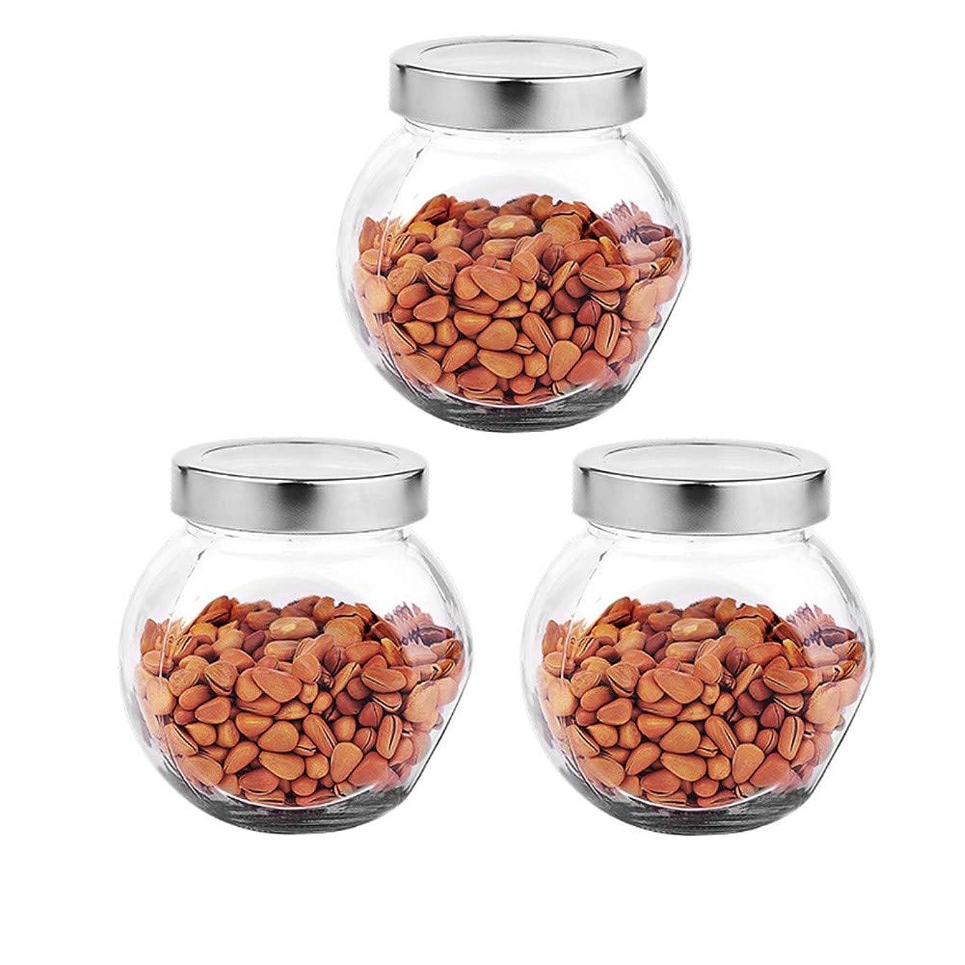 民兵抜け目のないブラウズ3つの透明ガラス貯蔵容器茶/季節密封缶の貯蔵ジャーパック(450 ml)
