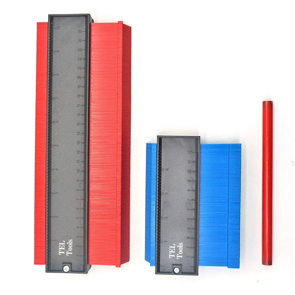 Plastic Contour Gauge with Lock 10 Inch//5 Inch Profile Measure Ruler Duplicator for Precise Measurement Tiling Laminate Wood Marking Tool Bonus 2 Pencil and 1 Ruler