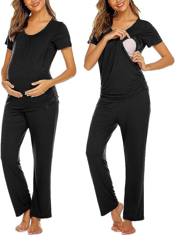 Ekouaer Women's Maternity Nursing Pajama Set Breastfeeding Sleepwear Set Double Layer Short Sleeve Top & Pants Pregnancy PJS