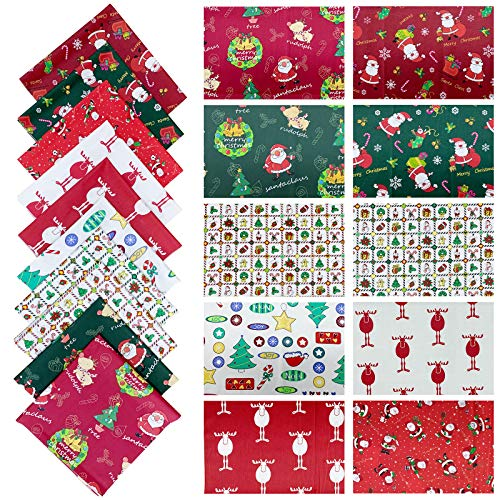 Christmas Fabric Fat Quarters Bundles,18 x 22 Inch,100% Cotton Quilting Fabric for Sewing Crafting for Christmas DIY Sewing Quilting