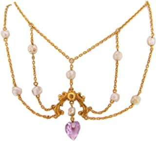 14k Gold Victorian Festoon Amethyst Necklace with Pearls (#J3974)
