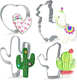 Conleke Large Llama Cactus Potted Cactus Heart Shaped Cookie Cutter Set,(4 Pieces) Stainless Steel Cutters Molds Cutters for Making Muffins, Biscuits,Sandwiches,Cake,Fondant,Pancake