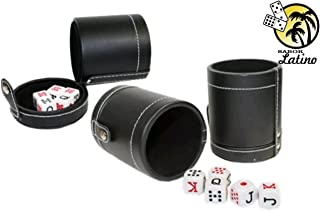 Faux Leather Cubilete Cup with dice set. with storage compartment by Sentir Cubano