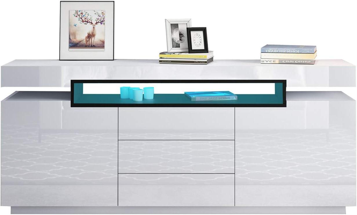 big discount Senvoziii LED Sideboard Cupboard Cabinet High Gloss 21 ...