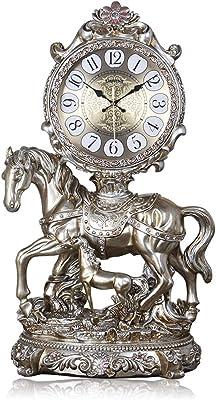 Reloj de mesa Gran Lujo Reloj de Escritorio de Resina Caballo Americano Retro de la Tabla