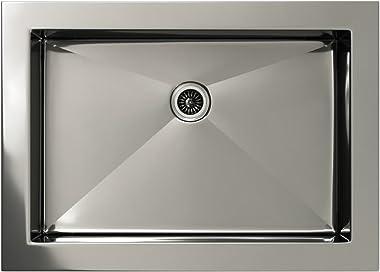 Stainless Steel Bathroom Sink - Handmade Undermount 10mm Radius Sink for Use with Standard Pop Up Drain