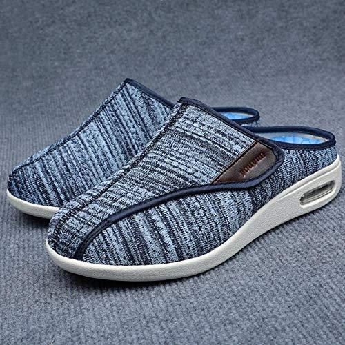 B/H Zapatillas diabéticas Ajustables ortopédicas para Mujer,Pies hinchados, Zapatos de Medio Arrastre para Ancianos, Zapatos para pie diabético-40_B Azul,Zapatos diabéticos para Hombres