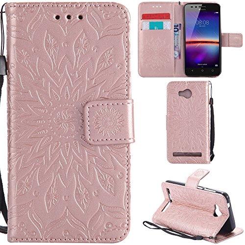 Ooboom® Huawei Y3 II / Y3 2 Hülle Sonnenblume Muster Flip PU Leder Schutzhülle Handy Tasche Hülle Cover Stand mit Kartenfach für Huawei Y3 II / Y3 2 - Rose Gold