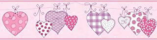 York Wallcoverings YS9159BDSMP Peek-A-Boo Clothesline of Patterned Hearts 8-Inch x 10-Inch Memo Sample Wallpaper-Borders, Powder Pink