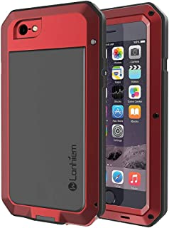 Lanhiem iPhone 5 / 5S / SE Case, Heavy Duty Shockproof [Tough Armour] Metal Case with Built-in Screen Protector, 360 Full Body Protective Cover for iPhone 5 5s se, Dust Proof Design -Red
