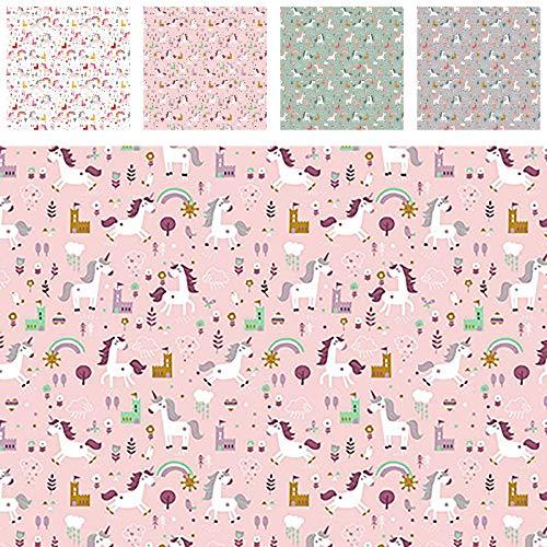 Stoff Baumwollstoff HAPPY HORSE Einhorn Unicorn - Stoff zum Nähen - Meterware ab 50cm - Schultüte nähen Kinderstoff (rosa)