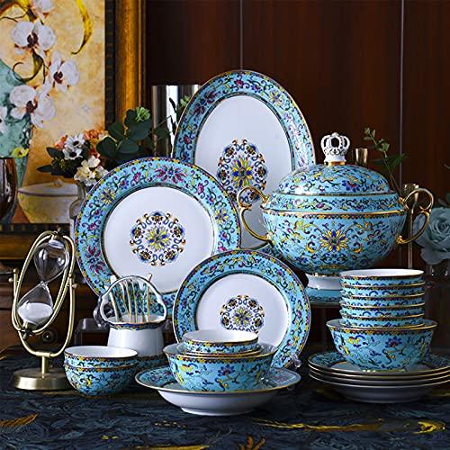 WLGQ Vajilla de cerámica de 101 Piezas, Juego de vajilla de Porcelana de Hueso, Platos, combinación de cerámica, Servicio de Cena, Juego de Comedor, Porcelana