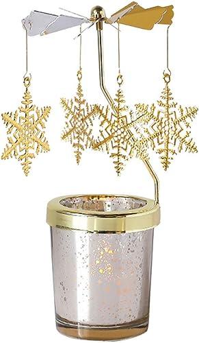 Holibanna Rotating Candlestick Christmas Carousel Spinning Snowflake Tea Light Gold Candle Holder