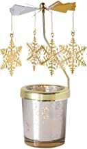 Holibanna Rotating Candlestick Christmas Carousel Spinning Tea Light Gold Candle Holder (Snowflake Gold)