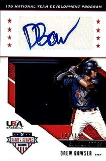 2019 Panini Stars and Stripes USA BB Silhouettes Signatures Jerseys Baseball #69 Drew Bowser Jersey/Relic Auto Autograph SER/199 USA Baseball 17U National Team Development Program