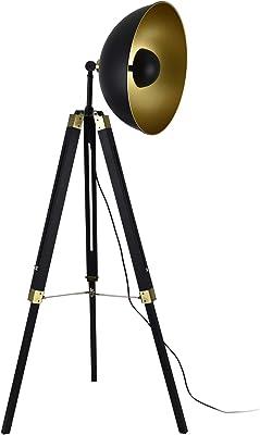 Lampadaire Lampe à Pied Trépied Métal Bois Noir Cuivre 1 x E27 148 cm