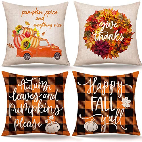 Whaline Fall Pillow Covers Autumn Leaves Pumpkins Pillow Cases Orange Black Plaid Throw Cushion Cover Harvest Linen Cushion Case for Thanksgiving Sofa Couch Bedroom Home Office Decor, 18' x 18'(4Pcs)