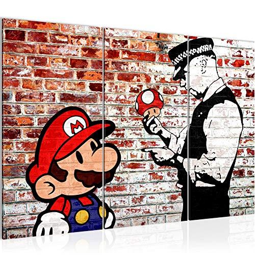 Runa Art Mario and Cop Banksy Bild Wandbilder Wohnzimmer XXL Grau Street Art 120 x 80 cm 3 Teilig Wanddeko 303031b
