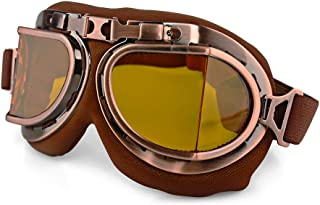 LILSIS Motorcycle Goggles for Men Women Vintage Motorcycle Goggles Aviator Pilot Scooter Goggles