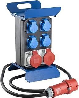 as – Schwabe Tragbarer CEE-Stromverteiler STECKY 1 – CEE-Stecker  4 Schuko-Dosen  2 CEE-Buchsen – Mobiler Stromverteilerkasten – Verteilerdose für den Außenbereich – IP44 – Made in EU I 60504