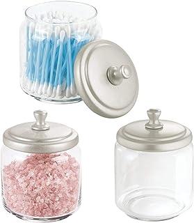 mDesign Glass Bathroom Vanity Storage Organizer Canisters Jars for Cotton Balls, Swabs, Beauty Blenders, Makeup Sponges, B...