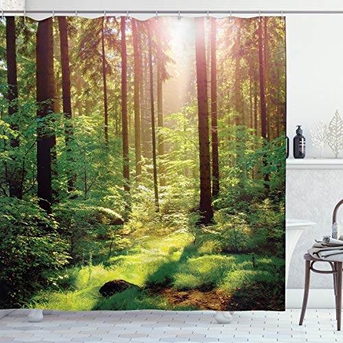 ABAKUHAUS Wald Duschvorhang, Sunset Moss Woods Bäume, aus Stoff inkl.12 Haken Digitaldruck Farbfest Langhaltig Bakterie Resistent, 175 x 180 cm, Grün-Braunen