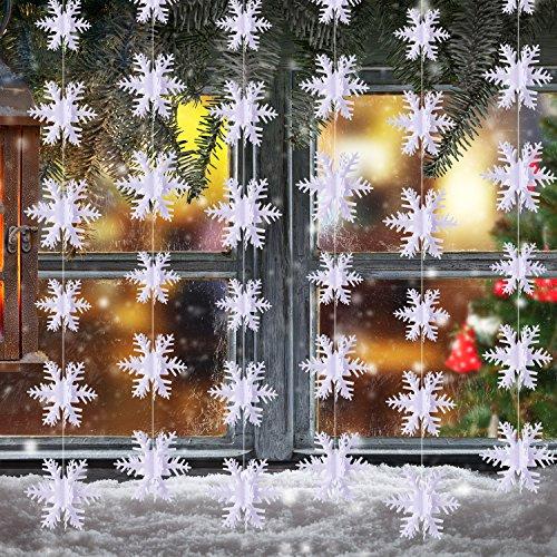 BBTO 3 Meter Schneeflocke Hanging Dekorationen für Weihnachten Party Urlaub Neujahr Dekoration Weiß, 36 Stück
