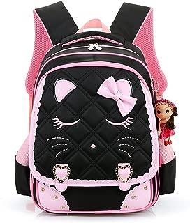 Cat Face Waterproof School Backpack for Girls Book Bag (Medium, black1)