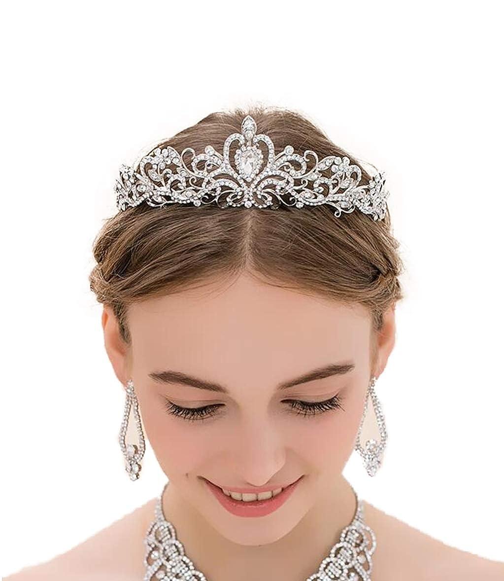 ウガンダ手段音声ヘアクラウンヘッドバンドラブレター花嫁のヘアアクセサリーヘッドドレスパーティーフェスティバルラインストーンクラウン (色 : A)