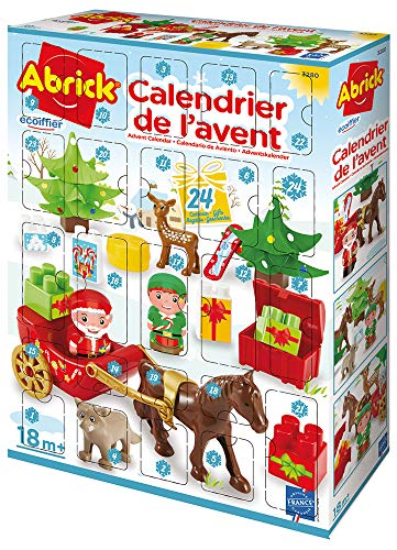 Jouets Ecoiffier- Abrick-Calendrier de l'Avent-Thème Village du Père Noël-Dès 18 Mois-Fabriqué en France, 3280