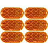 [ALL STAR TRUCK PARTS] Oval Reflectors Red/Amber Self Adhesive Or Drill Mount Quick Mount SAE 13 DOT (Amber, 6)