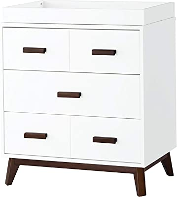 Babyletto Scoot 3-Drawer Changer Dresser with Removable Changing Tray in White / Walnut
