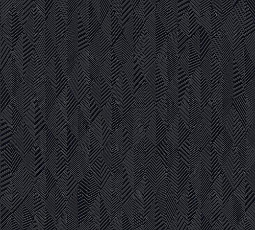 A.S. Création Vliestapete Club Tropicana Tapete Uni 10,05 m x 0,53 m schwarz Made in Germany 359983 35998-3