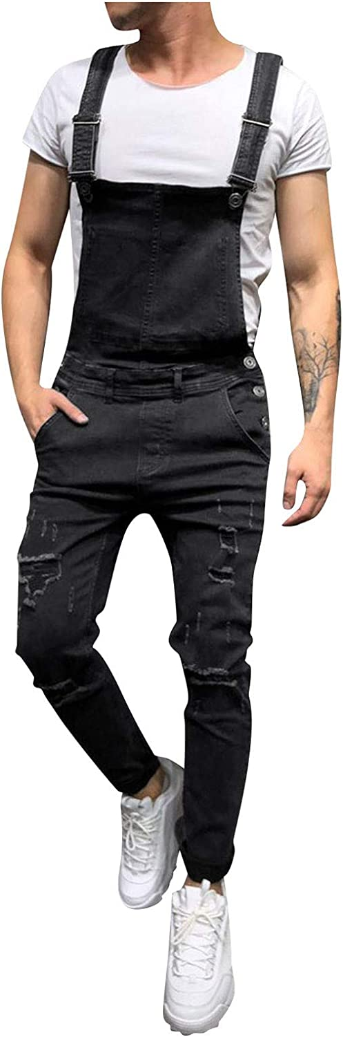 XUETON Men's Jeans Jumpsuits Slim Fit Ripped Distressed Destroyed Denim Overalls Casual Bib Suspender Pant