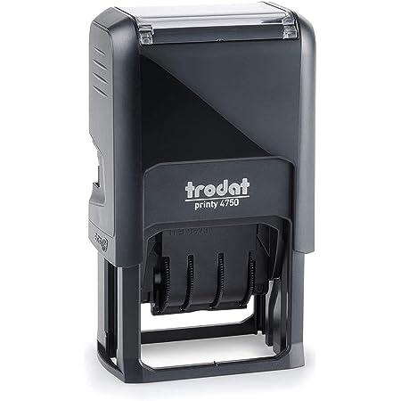 Trodat Printy 4750/L2 Datario con Testo Commerciale PAGATO, Autoinchiostrante - Blu/Rosso