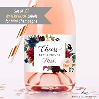 2x3.5 Personalized Baby Blue Cream Floral Mini Wine Bottle Sticker Baby Bridal Shower Wedding Birthday Party Fast Free Shipping 8 Customized WATERPROOF Polyester Mini Champagne Bottle Labels