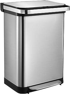 50L Stainless Steel Bin Kitchen Rubbish Bin Recycling Bin Trash Garbage Waste Bin