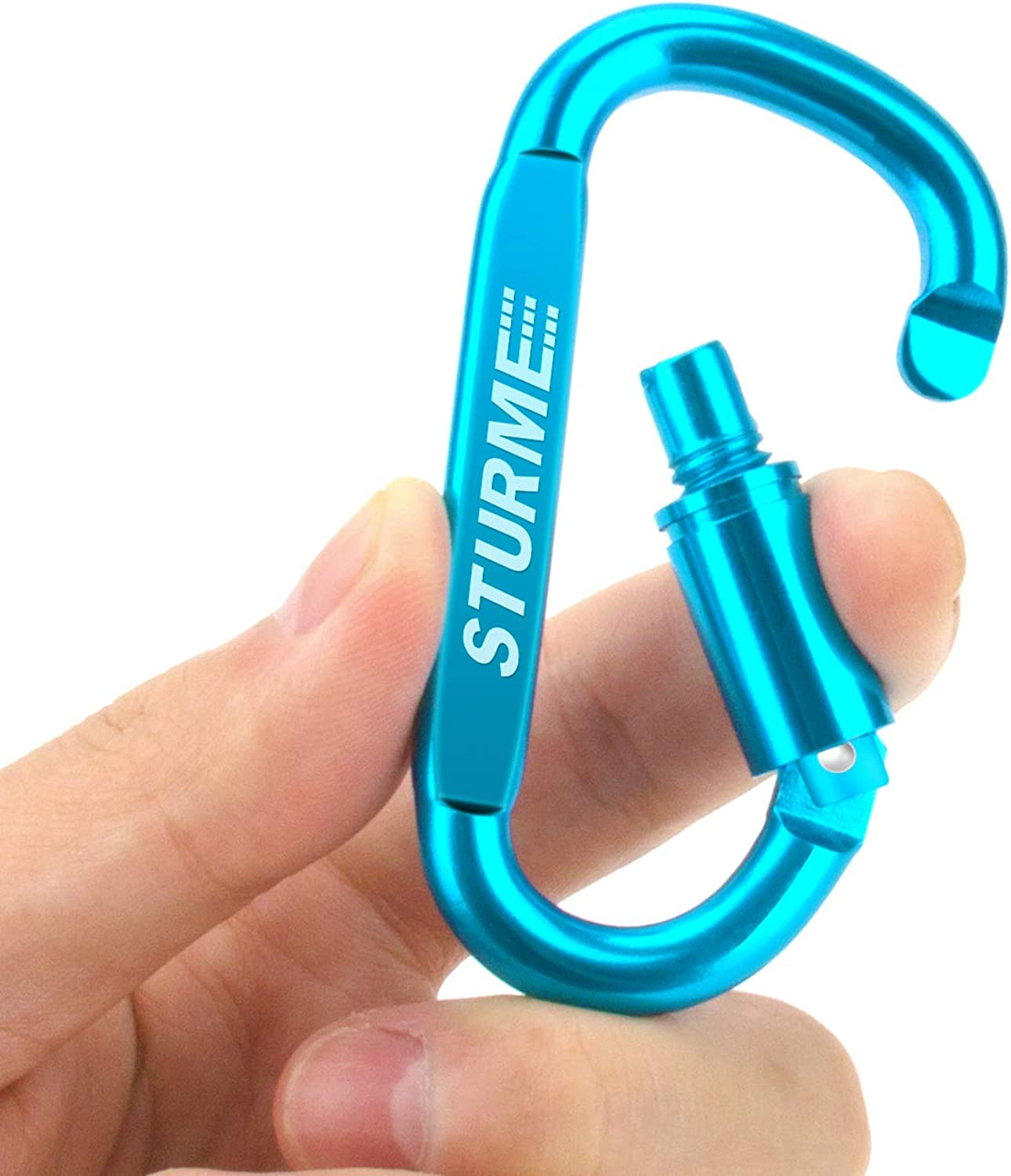 STURME Carabiner Clip Aluminum D-Ring Locking Durable Strong and Light Large Carabiners Clip Set for Outdoor Camping Screw Gate Lock Hooks Spring Link Improved Design Pack 9 Pack