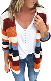 Loosebee◕‿◕ Womens Color Block Striped Cardigan Long Sleeve Open Front Knit Sweater Cardigan with Pockets