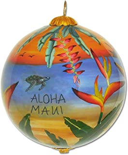 Collectible Hand Painted Maui Ocean Sunset Scene Glass Ornament with Gift Box SUH/M