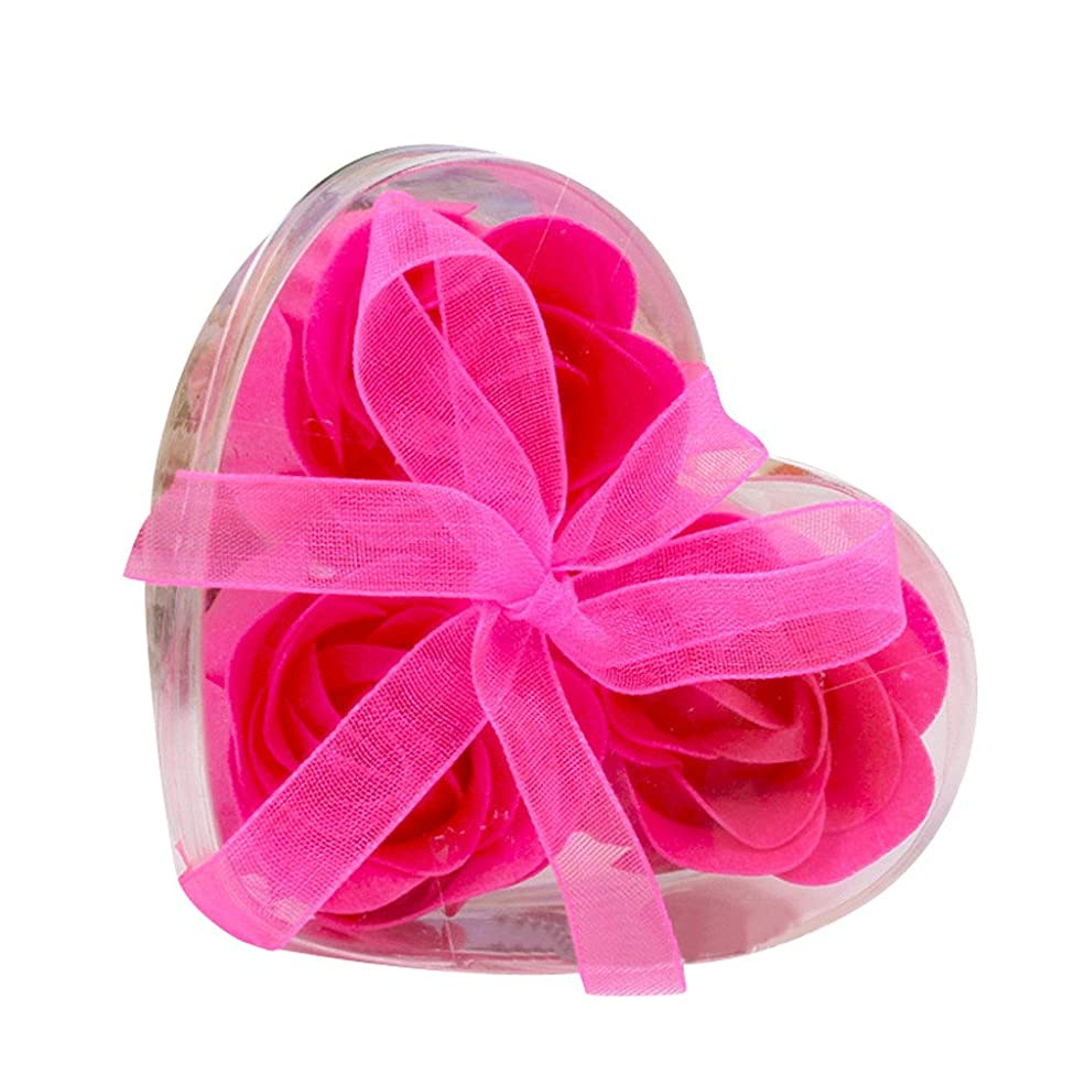 3Pcs Scented Rose Flower Petal Bath Body Soap Wedding Festival Gift Fragrant Soaps in Ribbon Heart Box (Hot Pink)