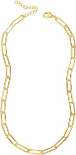 Reoxvo 18K Gold Plated Chain Necklaces for Women | Paperclip Link Chain Necklace and Bracelet Set