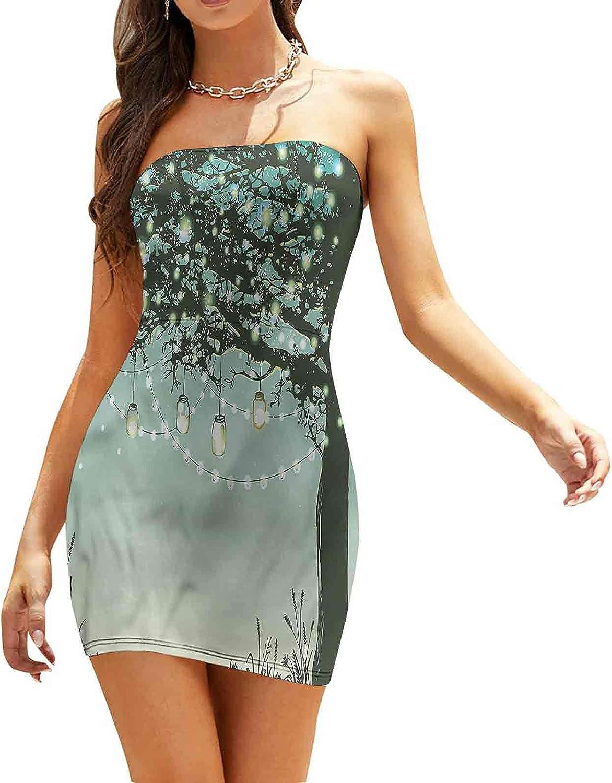 SUZM Women's Strapless Bodycon Club Dress Mystical Deep Dark Forest Dresses